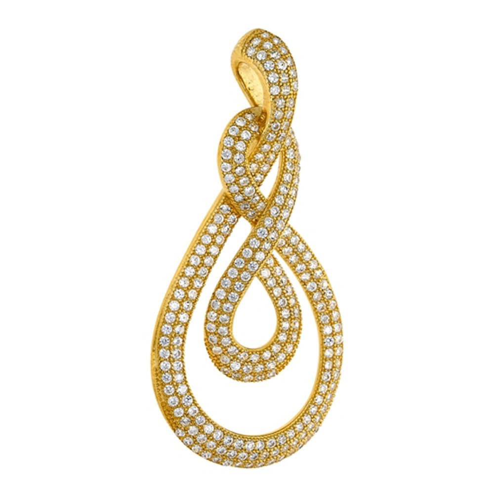 18k Gold Plate Infinity Wrap Design Pendant with Signaty Simulated Diamonds on .925 Sterling Silver
