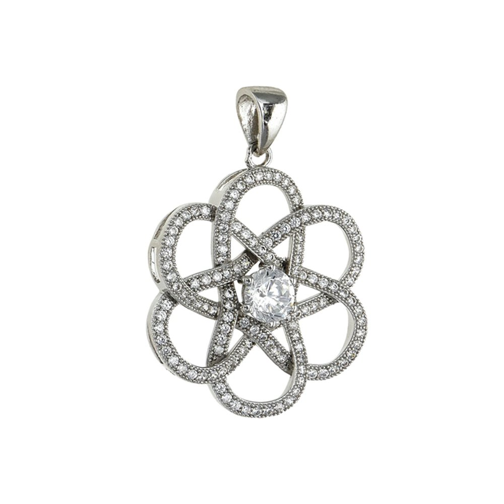 Intertwined Pendant on .925 Sterling Silver with Signaty Simulated Diamonds