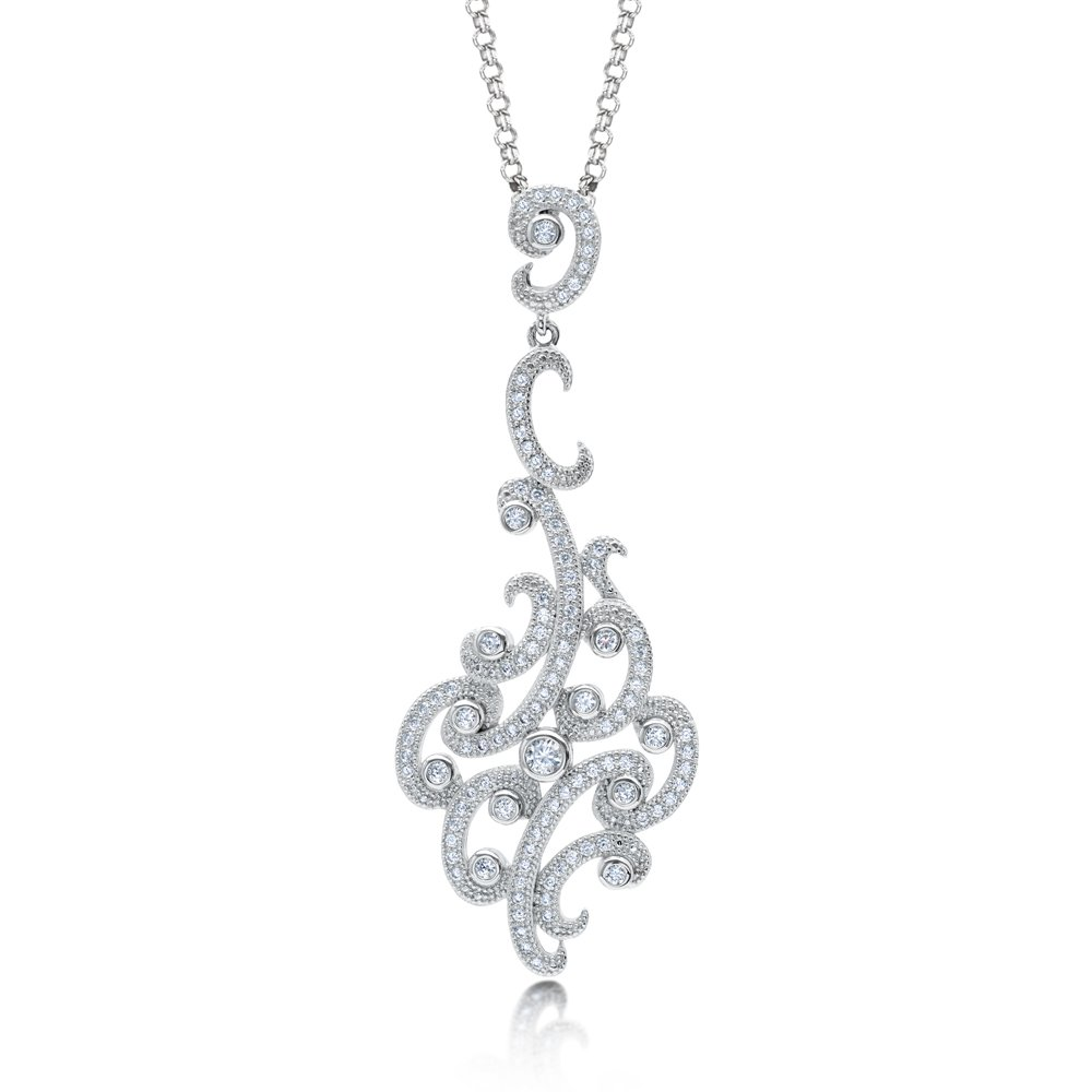 Styled Pendant Micro Pave Signaty Diamonds on Sterling Silver High Quality Diamond Quality Finish
