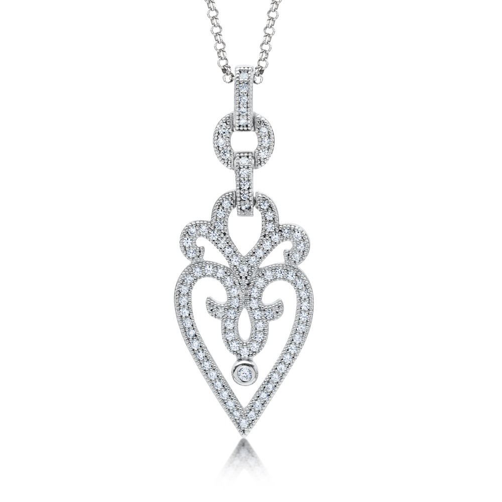 Heart Styled Pendant Micro Pave Signaty Diamonds on .925 Sterling Silver High Quality Diamond Finish