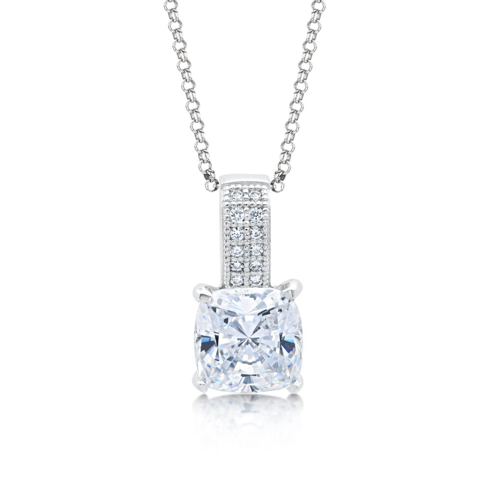 Cushion Cut Signaty Diamond Pendant Micro Pave .925 Sterling Silver