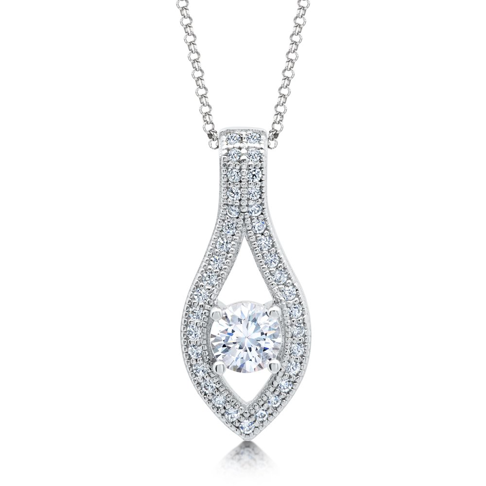 Drop Center Micro Pave Round Stone Pendant with Signaty Diamonds on .925 Sterling Silver