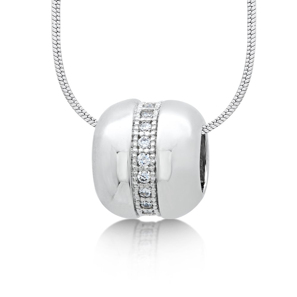 Charm Pendant Micro Pave Signaty Diamonds .925 Sterling Silver