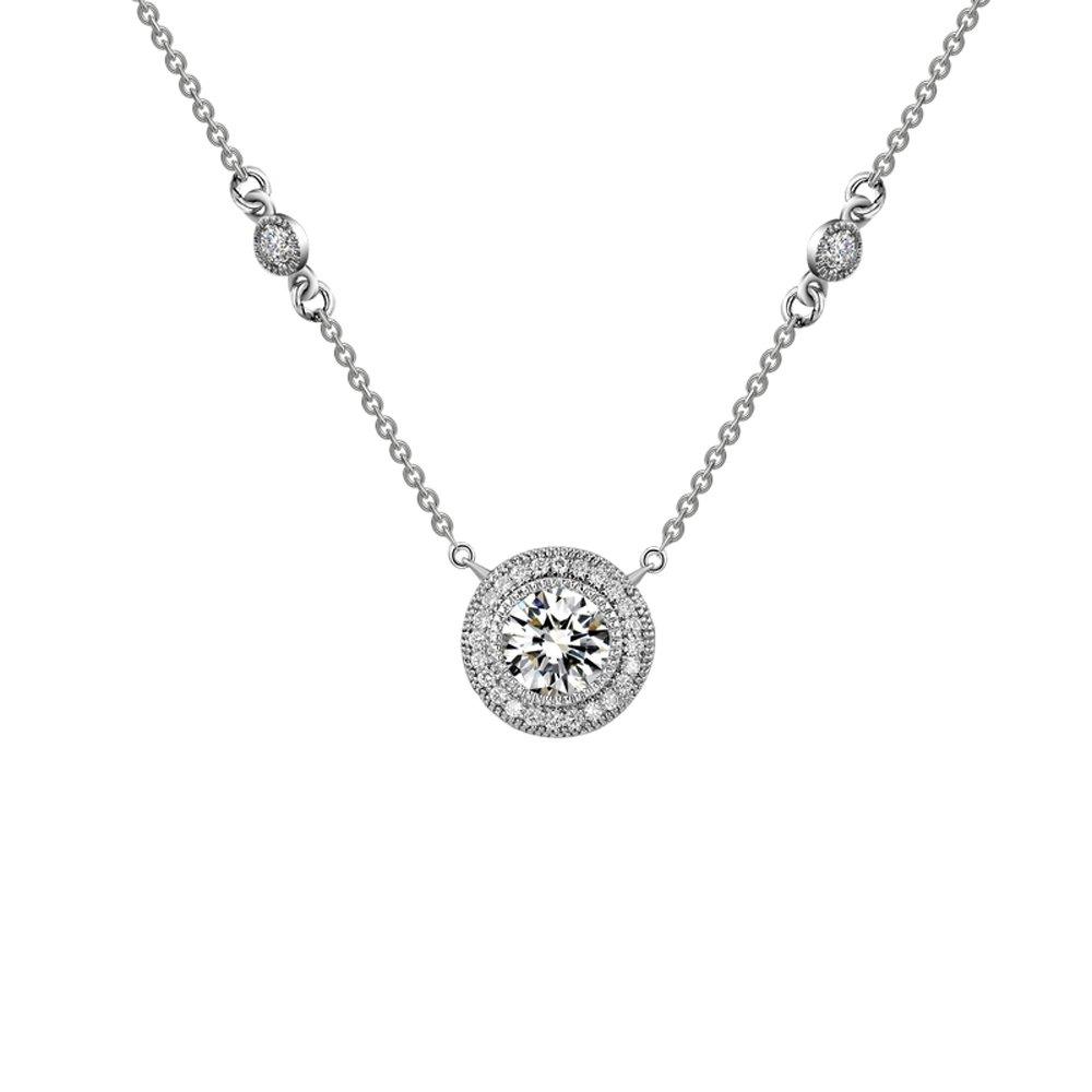 Round Micro Pave Pendant Signaty Diamonds .925Sterling Silver