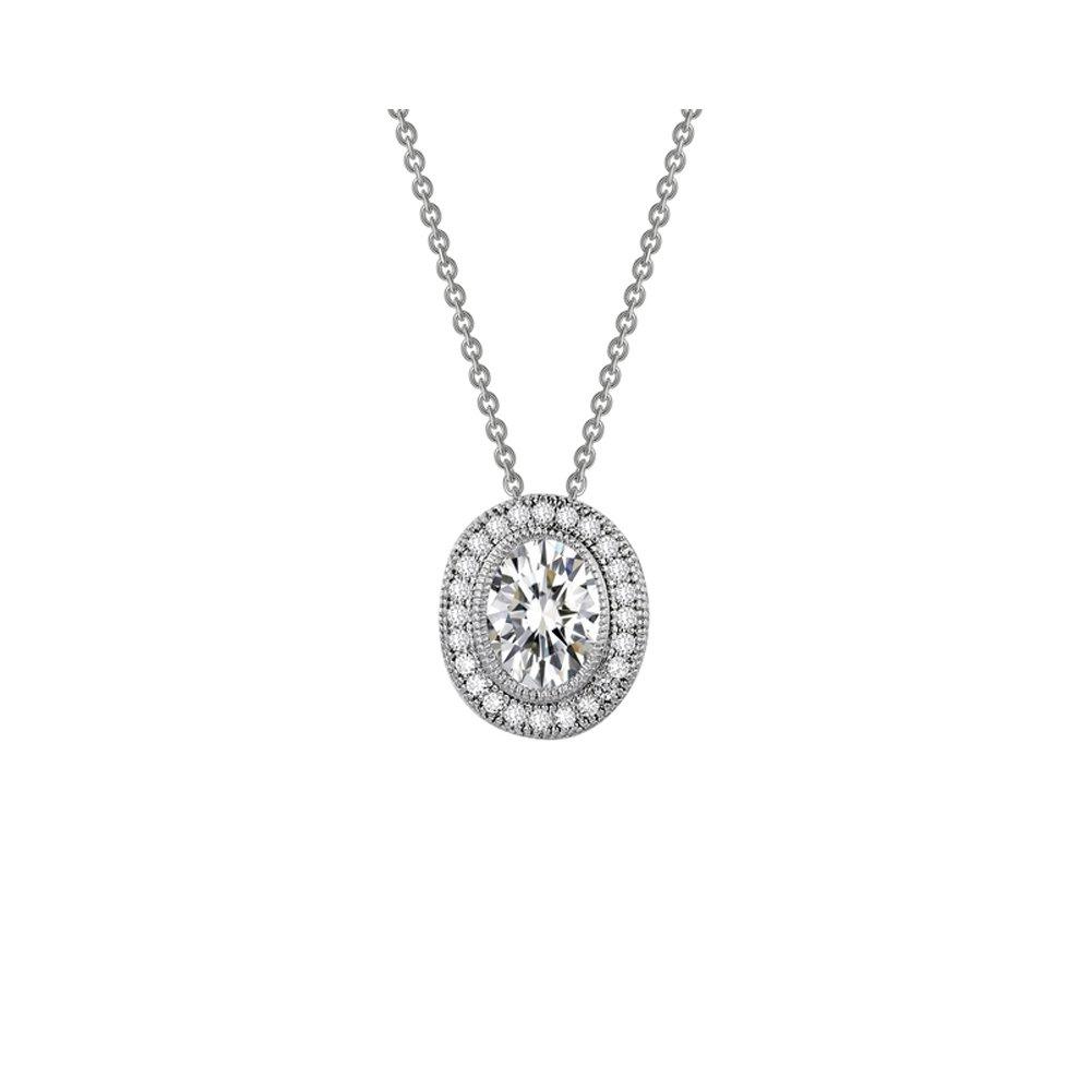 Oval Shape Signaty Diamond Micro Pave Pendant .925 Sterling Silver