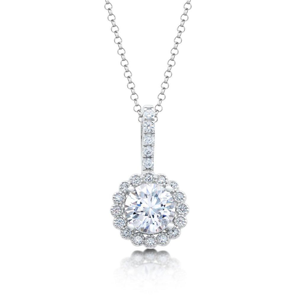 .925 Sterling Silver Round Signaty Diamond Pendant Micro Pave