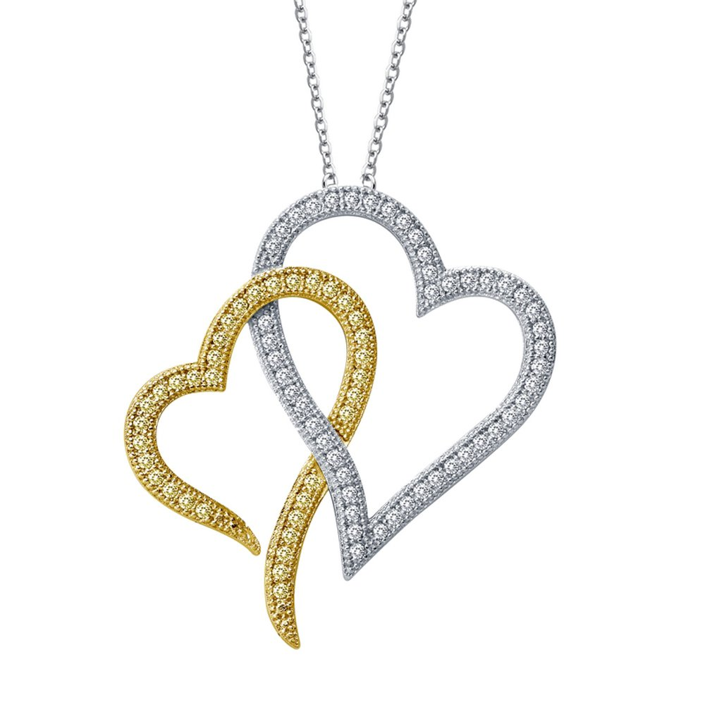 18K Gold Plated Pendant Two Hearts Signaty Diamonds .925 Sterling Silver