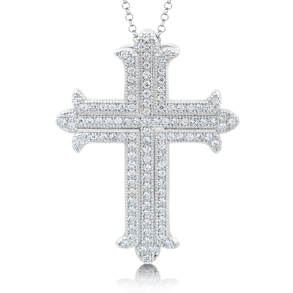 Signaty Diamond Cross Pendant .925 Sterling Silver with Canary Yellow Corundum Based Stone