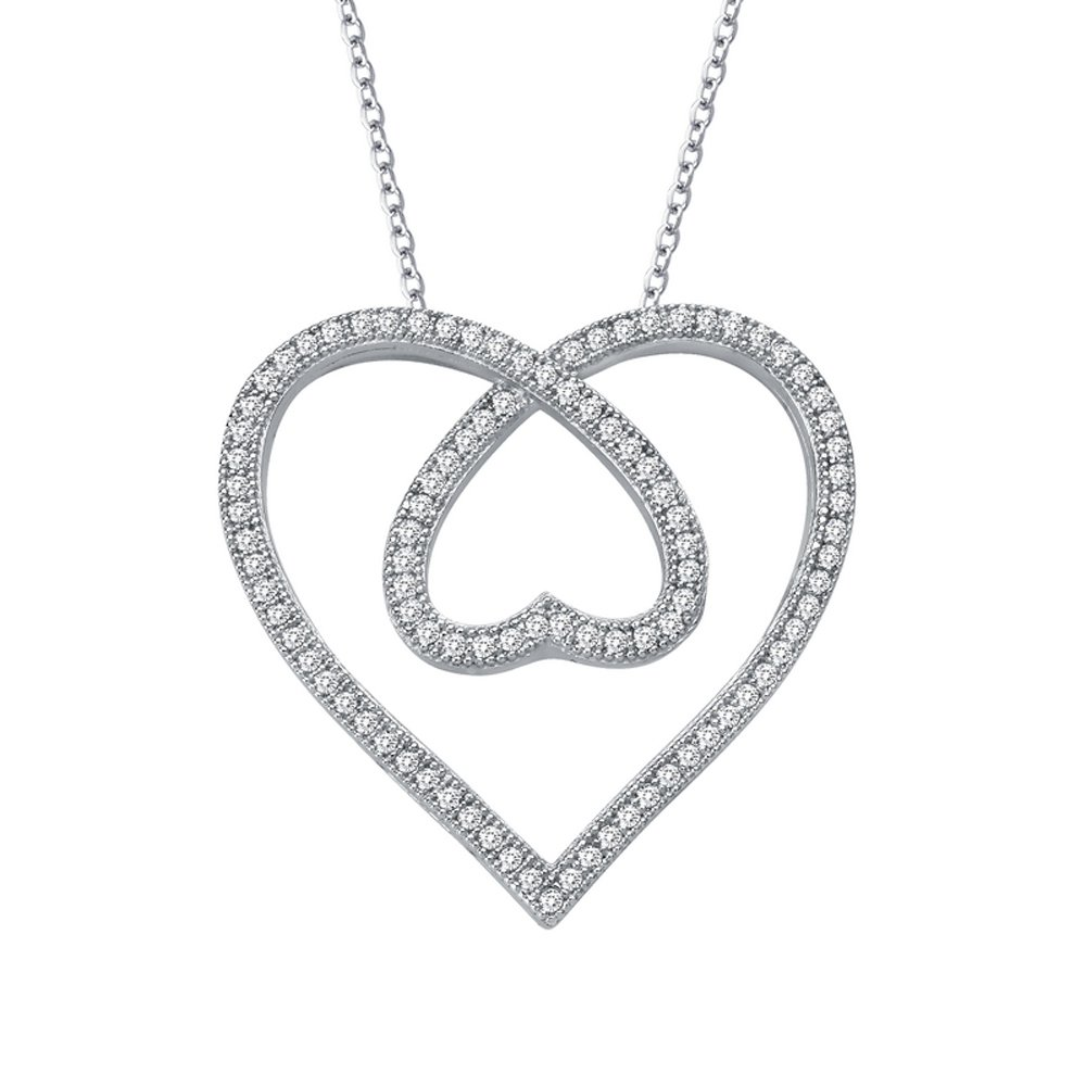Sterling Silver Inside Out Double Heart Pendant .925 Signaty Diamonds