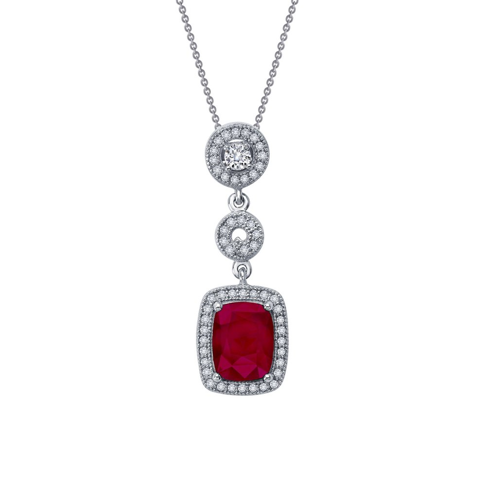 Ruby Red Corundum Based Pendant  Signaty Micro Pave Diamonds on .925 Sterling Silver