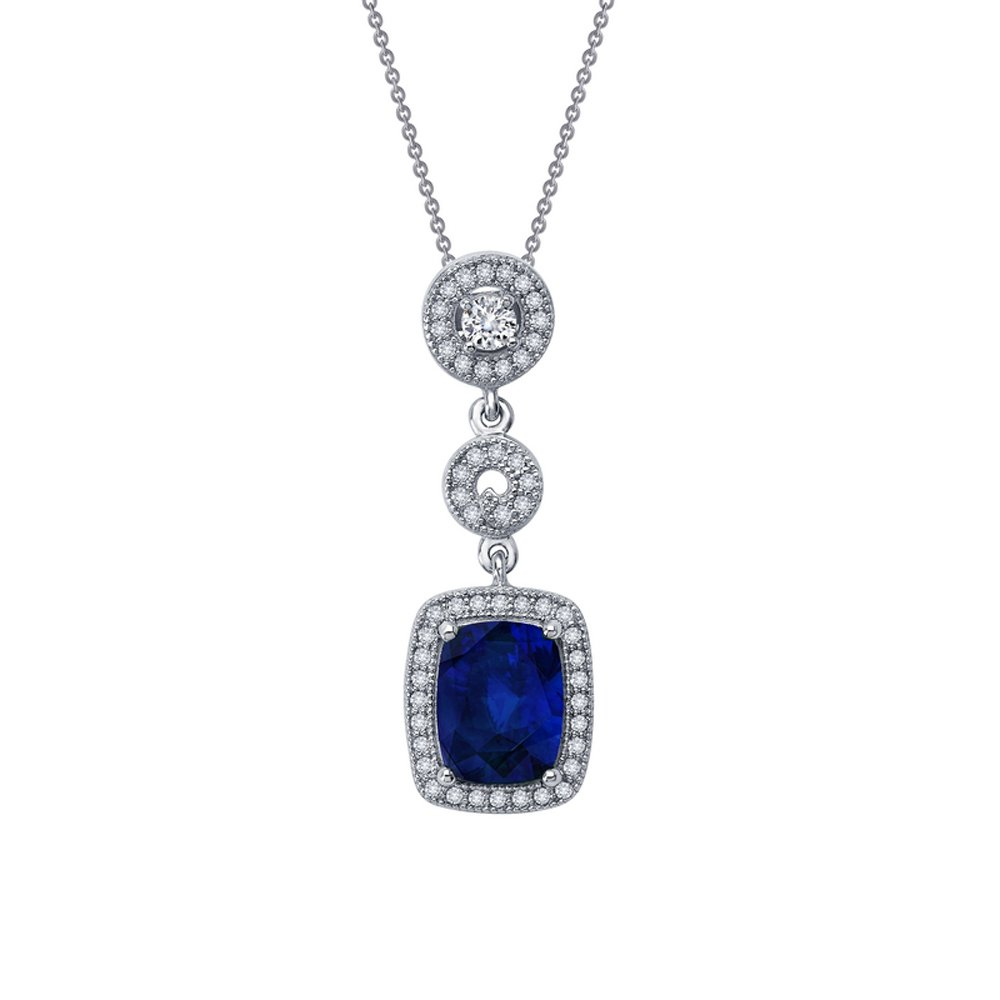 Sapphire Blue Corundum Based Pendant  Signaty Micro Pave Diamonds on .925 Sterling Silver