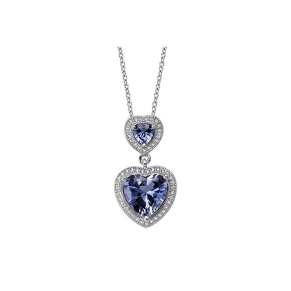 Sapphire Blue Heart Shape Corundum Based Stone Pendant Sterling Silver Micro Pave Signaty Diamonds
