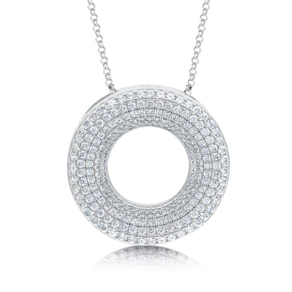 Round Multi Row Signaty Diamond Pendant .925 Sterling Silver