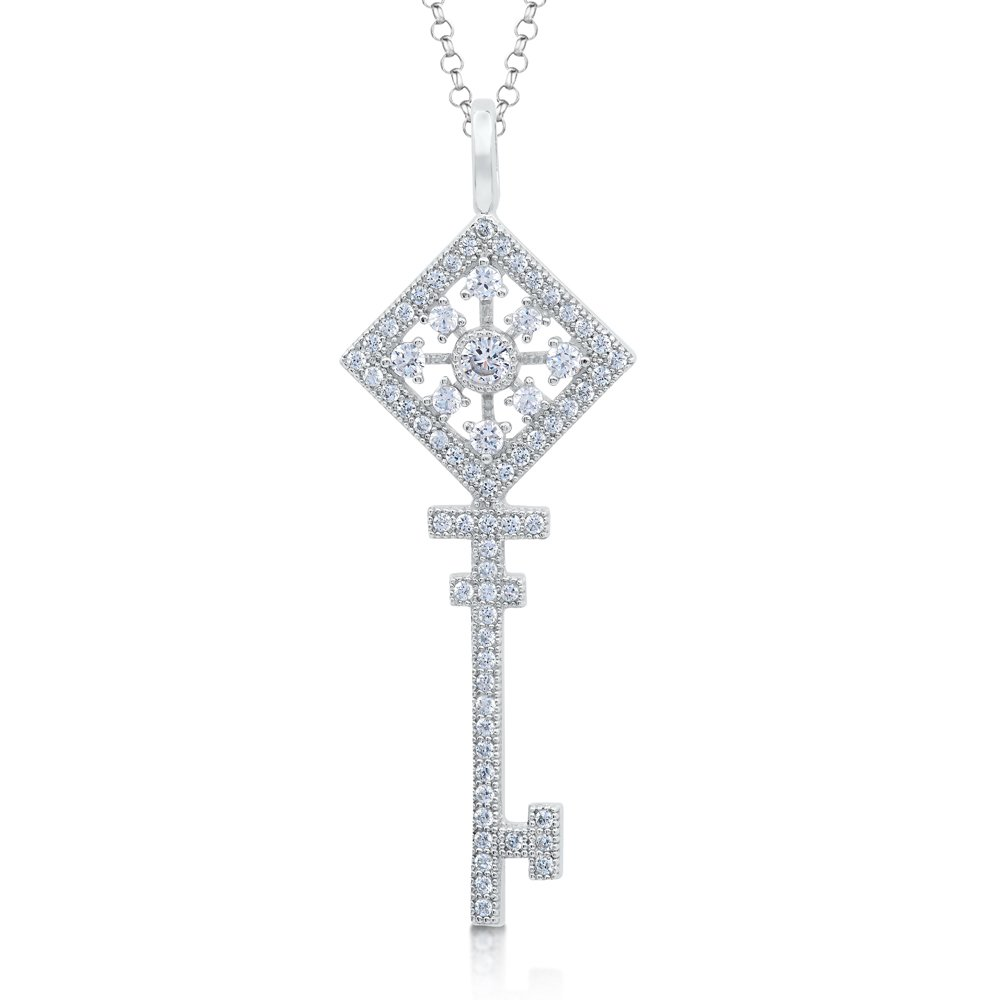 Signaty Diamond Key Pendant .925 Sterling Silver