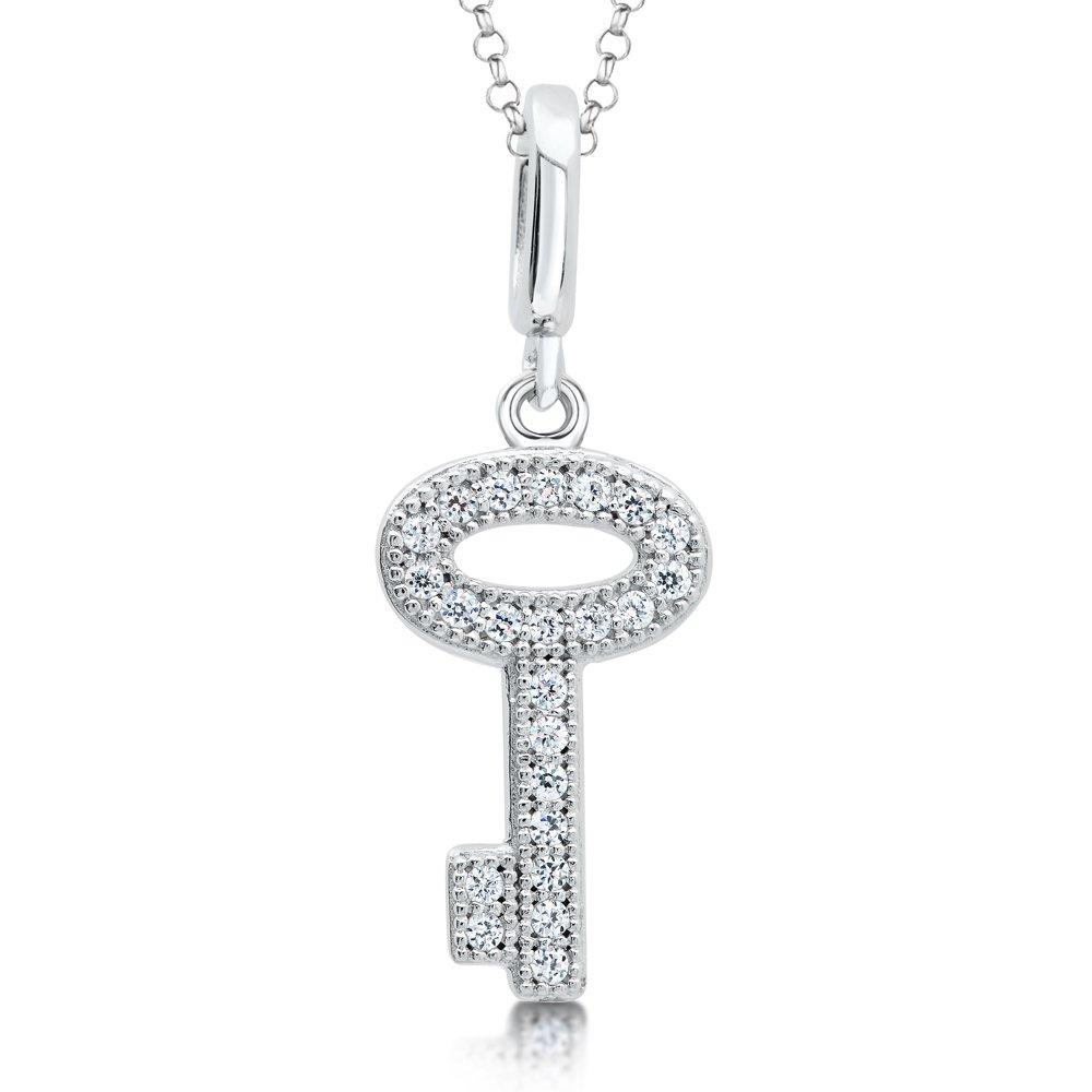Small Key Micro Pave Pendant Sterling Silver Signaty Diamonds