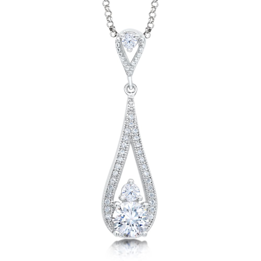 Drop Pear Signaty Diamond Pendant .925 Sterling Silver