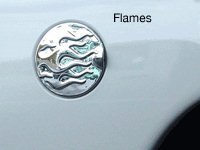 1999-06 Ford Super Duty-97-03 F150 Fuel Door Cover-Flames-Chrome