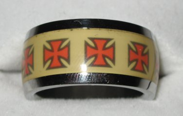 Stainless Steel Silver & Yellow with Red Maltese Cross Ring Size 9_TCSMr09