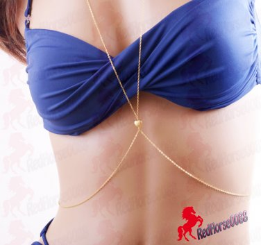Gold Plated Single HEART Body Chain Necklace Fashionable Bikini Body Jewelry  _ BC-18