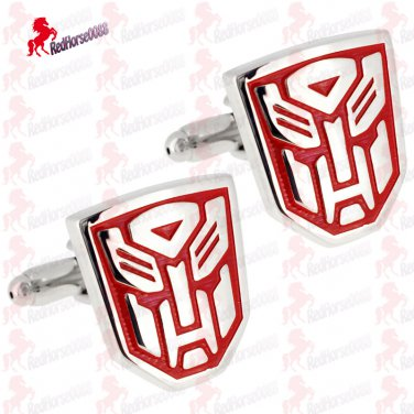 Transformers Silver Plated and Red Cufflinks FREE Gift Box � Wedding, Father's Day Gift