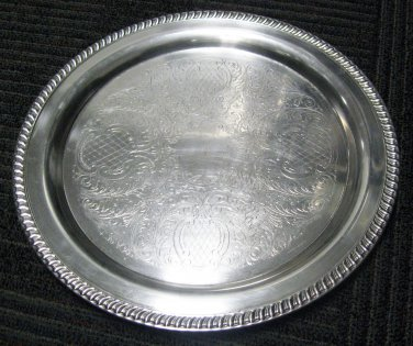 15� Round Silverplate (Hollowware) Serving Tray by Leanard Silver Mfg Co,