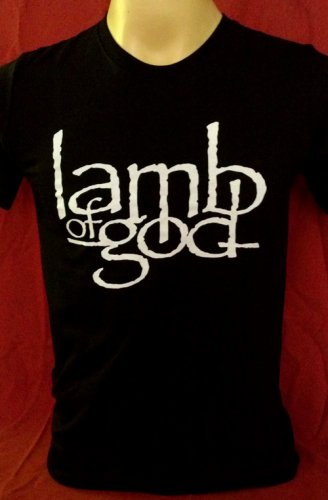 !! FREE SHIPPING!! Lamb of God American heavy metal band handmade black t shirt size L
