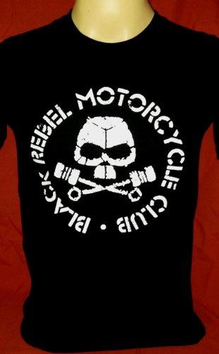 !! FREE SHIPPING!! Black Rebel Motorcycle Club rock band BRMC handmade black t shirt size L