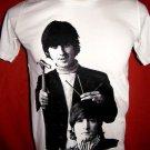 !! FREE SHIPPING!! THE BEATLES John Lennon&George Harrison men,women rock t shirt size M