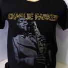 !! FREE SHIPPING!! Charlie Parker Yardbird American jazz music saxophone black t shirt size S