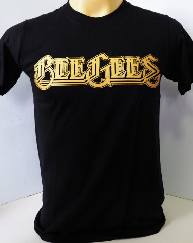 !! FREE SHIPPING!! Bee Gees music pop band Barry Robin and Maurice Gibb black t shirt size M