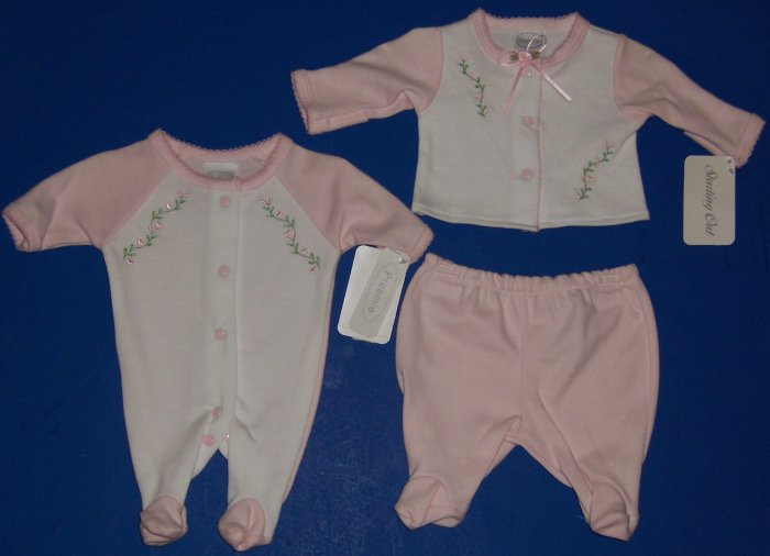 PREEMIE TWIN GIRLS FOOTIE SLEEPERS BY STARTING OUT