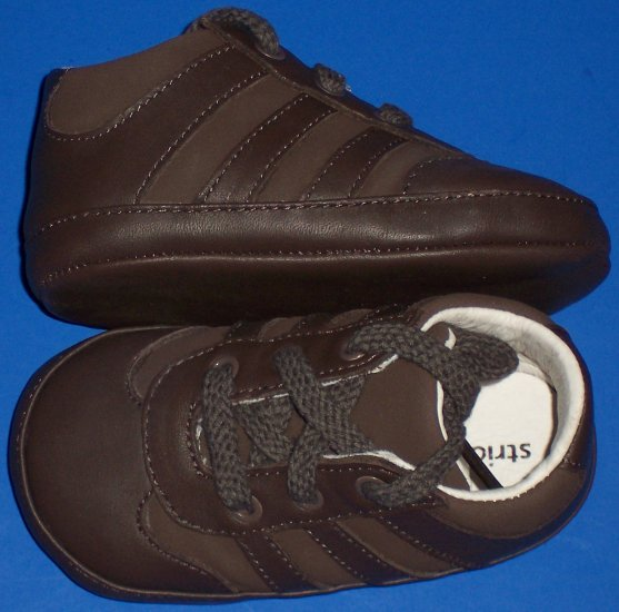 Stride Rite Baby Prewalkers Infant Boys Size 3 Chocolate Brown Lace Up Shoes