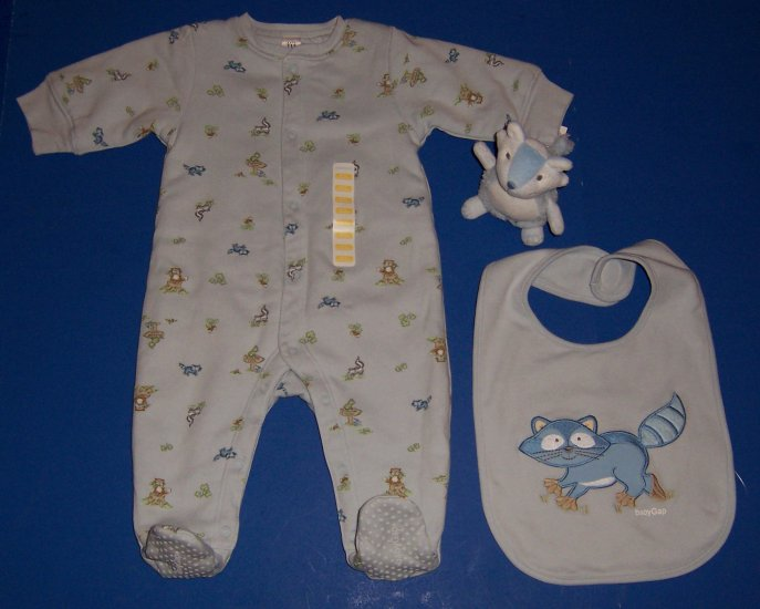 Baby Gap Warm Footie Sleeper Newborn, Matching Bib and Racoon Rattle