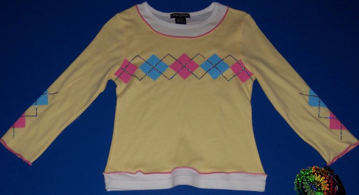 Great Escape Yellow Argyle Print Long-Sleeved Top Girls Size 10 12 M