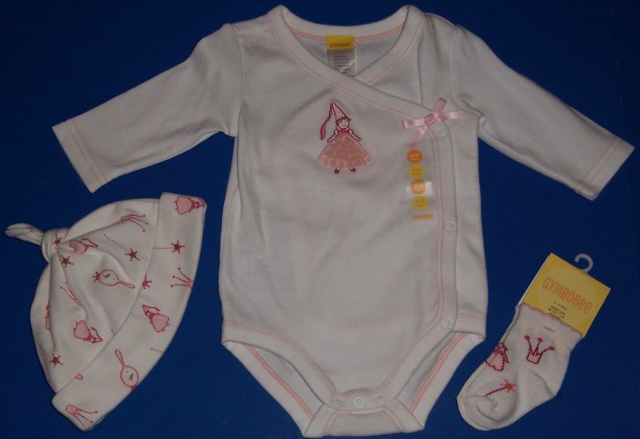 Gymboree Pretty Princess Baby Gift Set--Onesie, Hat, Socks 3 to 6 Months