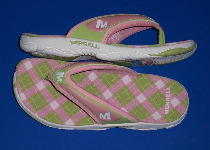 Merrell Bahia Kids Pink and Green Sandals Big Girl Size 2