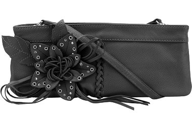 Wilsons Leather Blossom Fan Clutch/Purse, Black