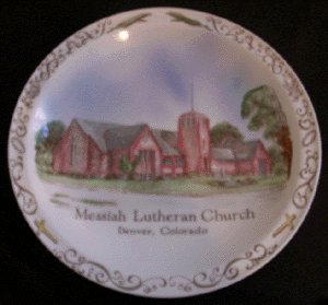 VERNON KILNS Hand Painted MESSIAH LUTHERAN CHURCH Plate