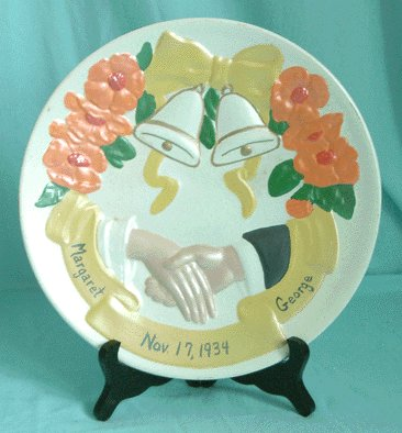 Vintage 1934 Hand-Painted WEDDING PLATE Margaret/George