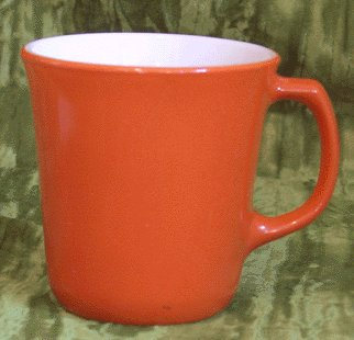 Vintage CORNING COFFEE MUG fired-on Terracotta