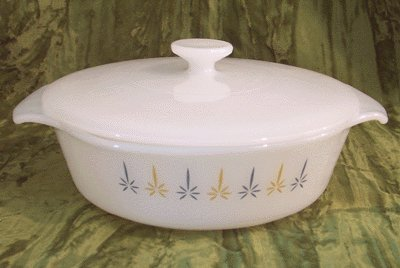 Vintage FIRE KING CASSEROLE/LID Candleglow CANDLE GLOW Lidded Vegetable Bowl