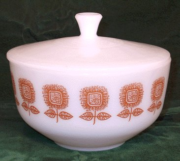 FEDERAL Milk Glass MID-CENTURY MODERN Casserole MOD