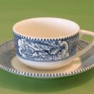 ROYAL CHINA Cup & Saucer CURRIER & IVES Blue