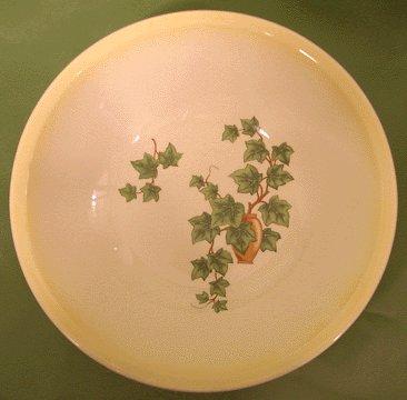 PADEN CITY Ivy YELLOW TRIM Round Vegetable Bowl 1950s