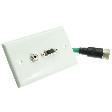 EZ Pull Video Wall Plate, Green Male to VGA (HD15) Female and 3.5mm Female