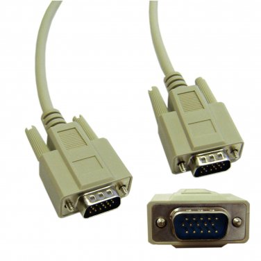 10ft VGA Cable, Low resolution, HD15 Male, 15 Conductor 10H1-01110