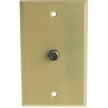 TV Wall Plate with 1 F-pin Coupler, Ivory