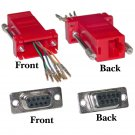 Modular Adapter, Red, DB9 Female to RJ45 Jack