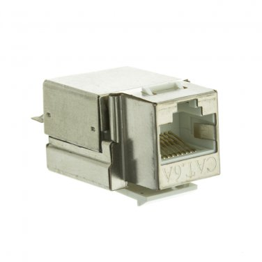 Shielded Cat6a Keystone Jack, RJ45 Female to 110 Punch Down  33X6-520