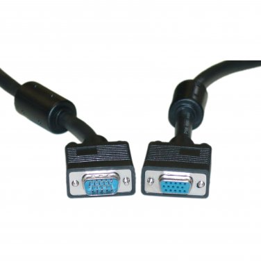 SVGA Extension Cable with Ferrites, Black, HD15 Male to HD15 Female, Coaxial Construction, Double Sh